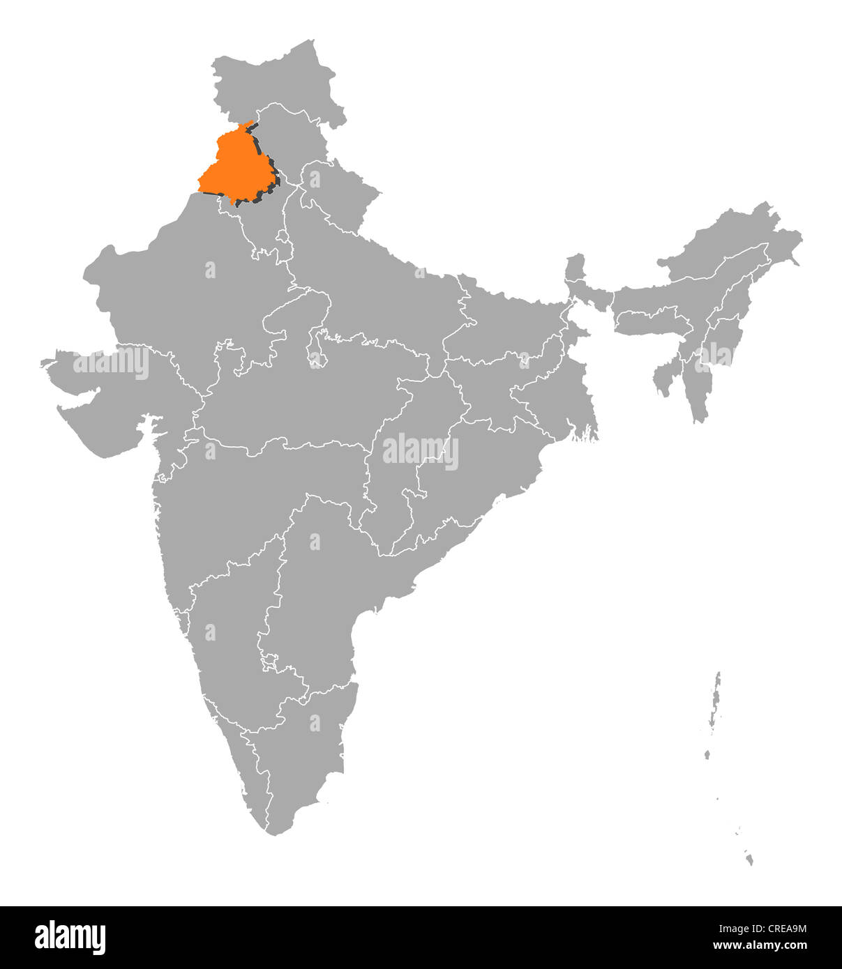 Political map of india with the several states where punjab is political map of india with the several states where punjab is highlighted buycottarizona Gallery