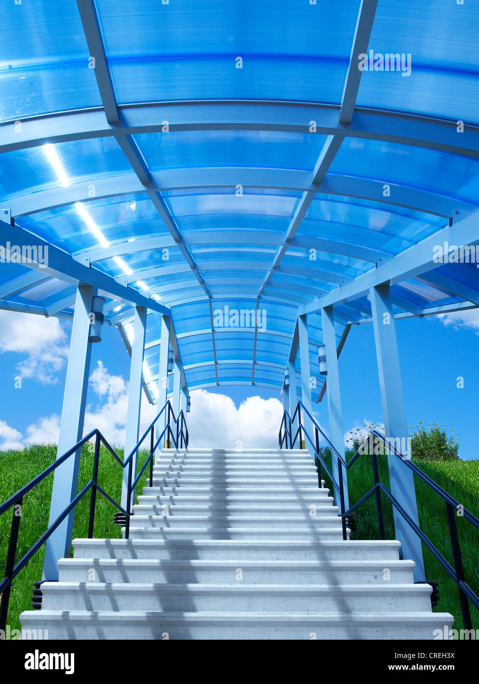 Stairs Steps With Blue Glass Canopy Stock Photo Royalty