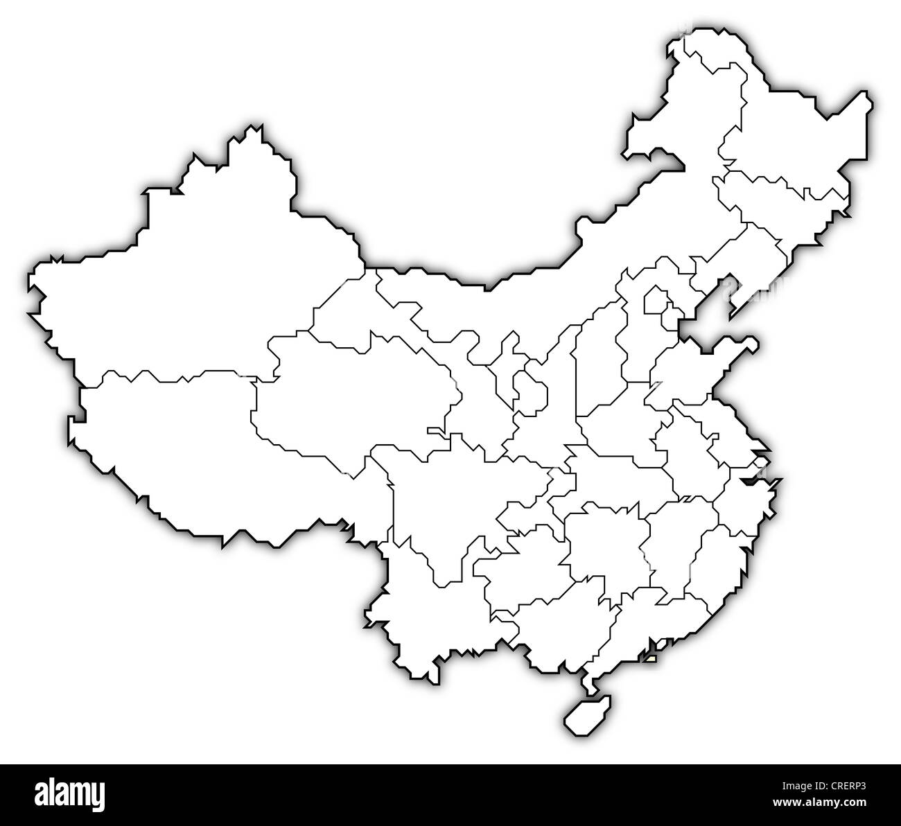 Political map of China with the several provinces where Macau is