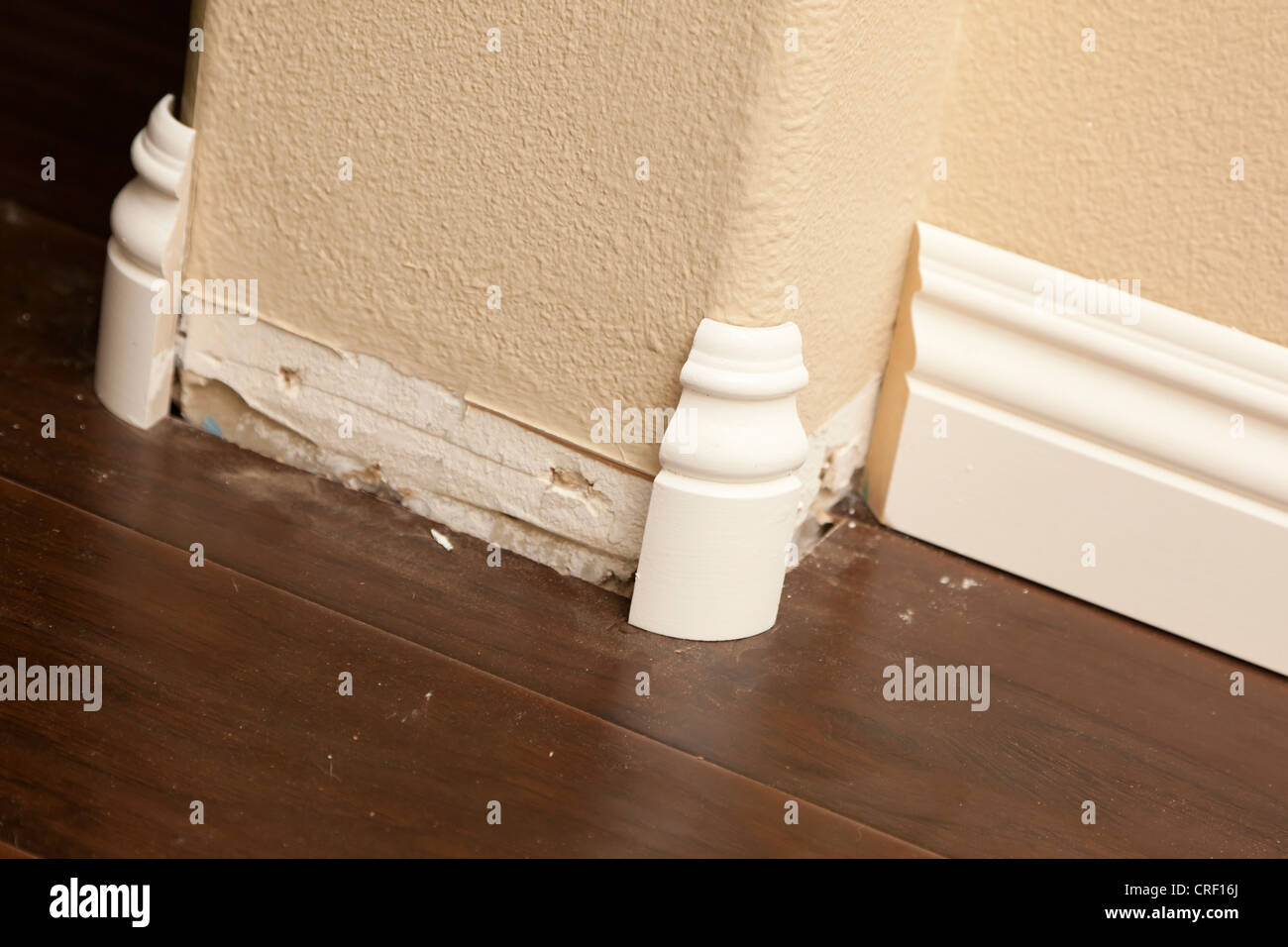 New Baseboard And Bull Nose Corners With Laminate Flooring Abstract