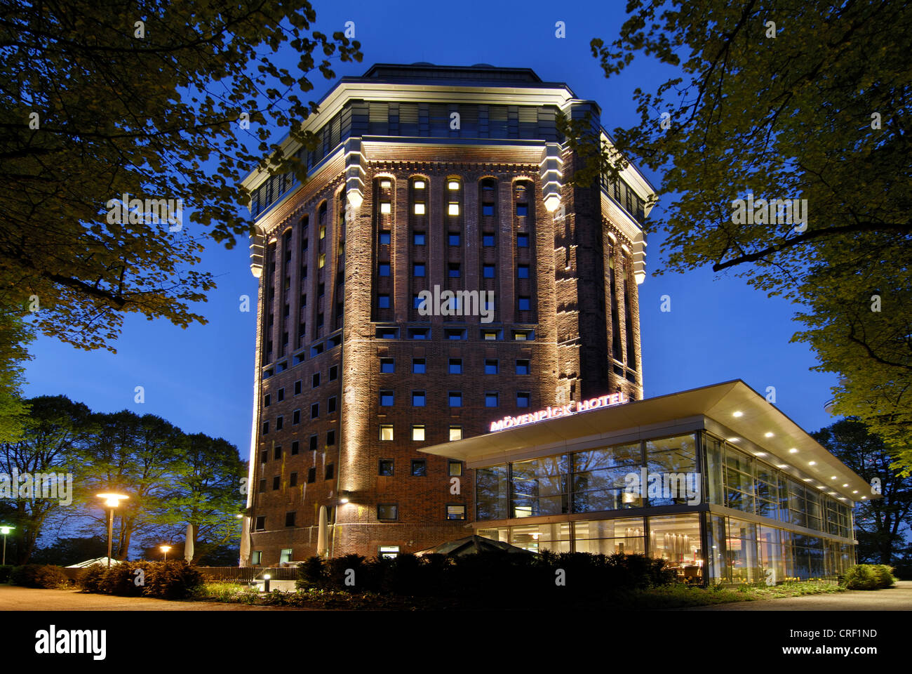 moevenpick hotel in hamburg in a old water tower germany hamburg stock photo royalty free. Black Bedroom Furniture Sets. Home Design Ideas