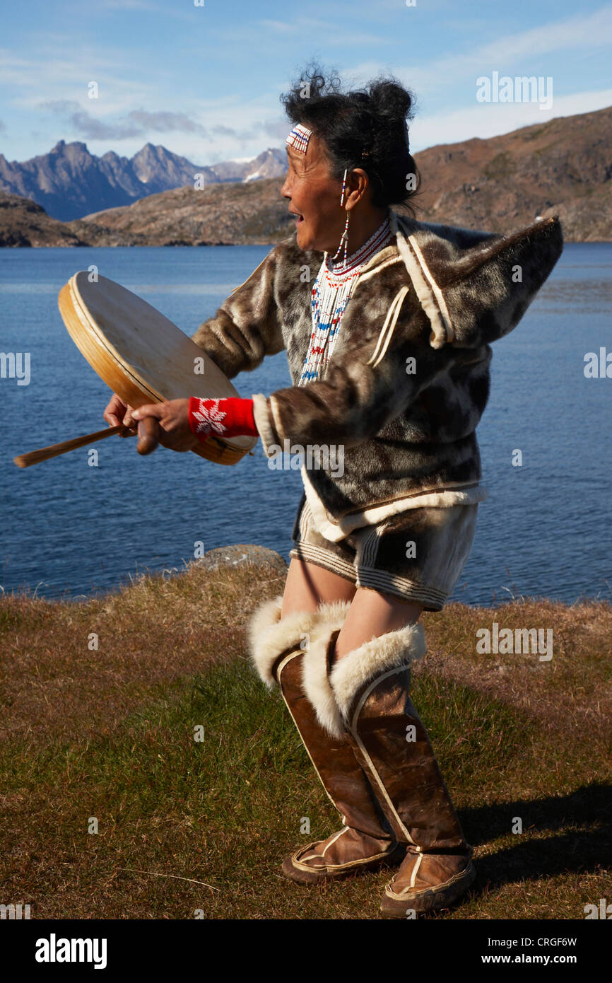 Shaman Dancing With Tabour Greenland Ammassalik East