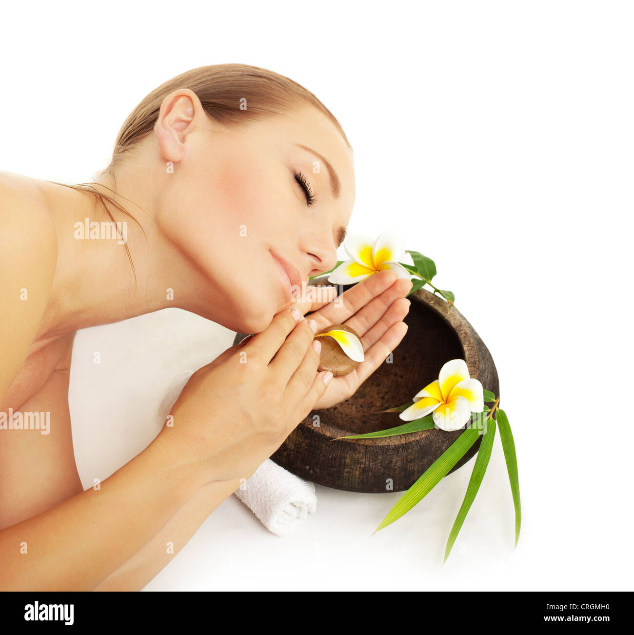 Woman sleeping in spa beautiful female model enjoying beauty