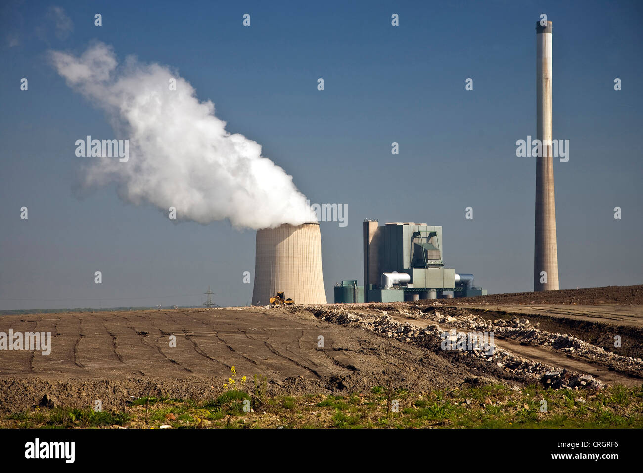 Holz Factory view from grosses holz stockpile on coal fired power plant near