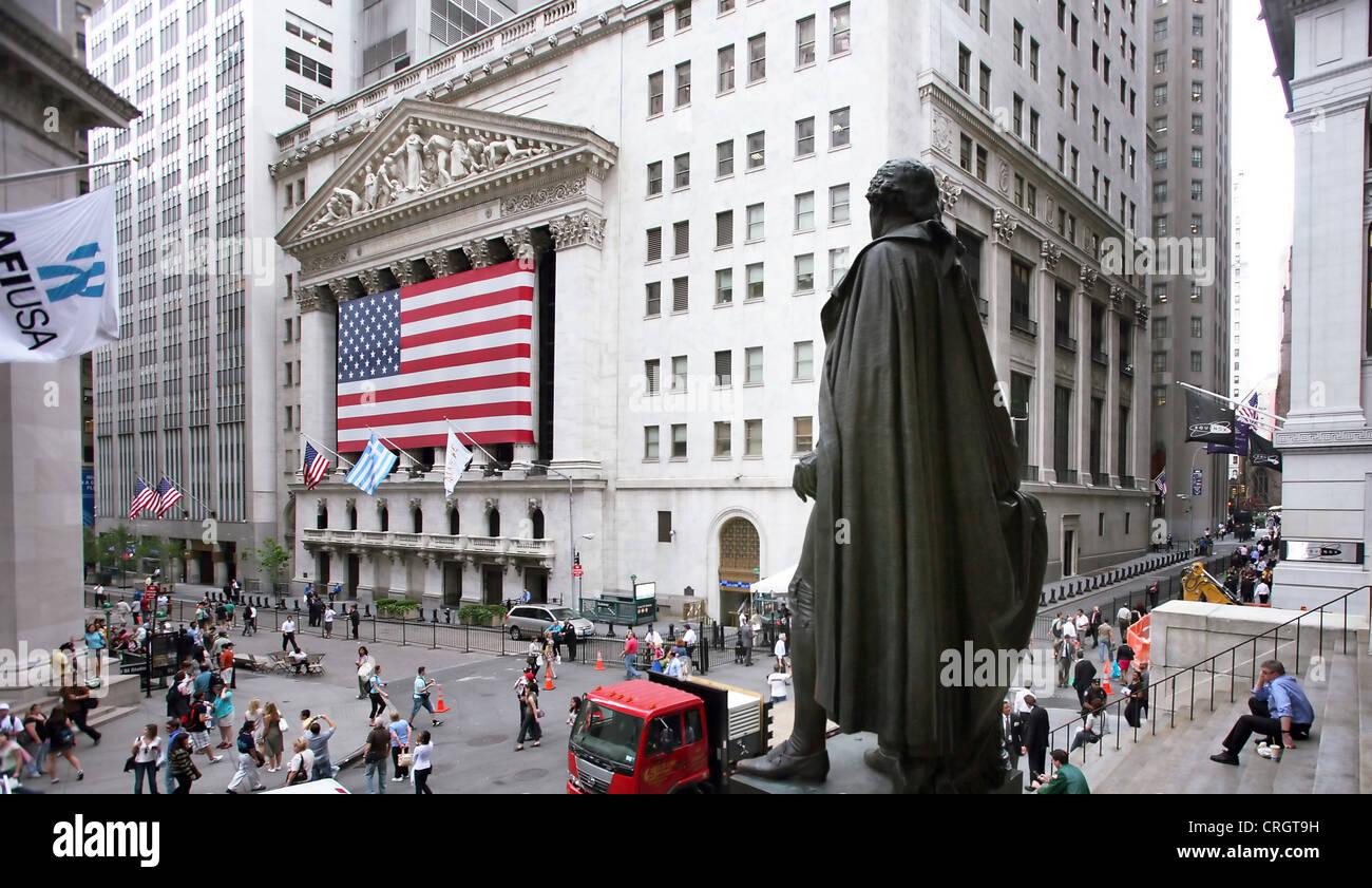 Wall Street, stock markets, George Washington Monument ...
