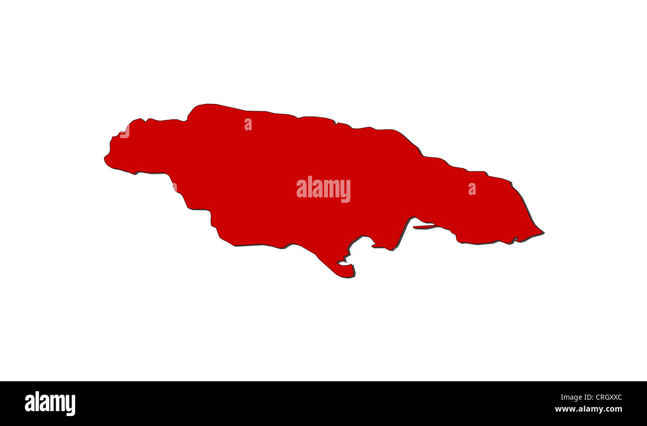 Political map of Jamaica with the several counties Stock Photo
