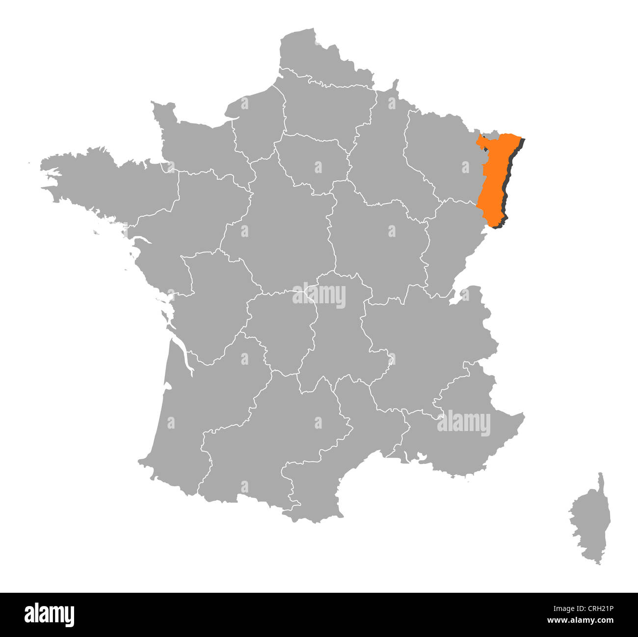 Political map of france with the several regions where alsace is political map of france with the several regions where alsace is highlighted gumiabroncs Images