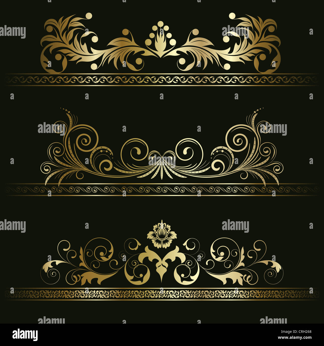 Set from gold retro frames on the black floral background Stock ...