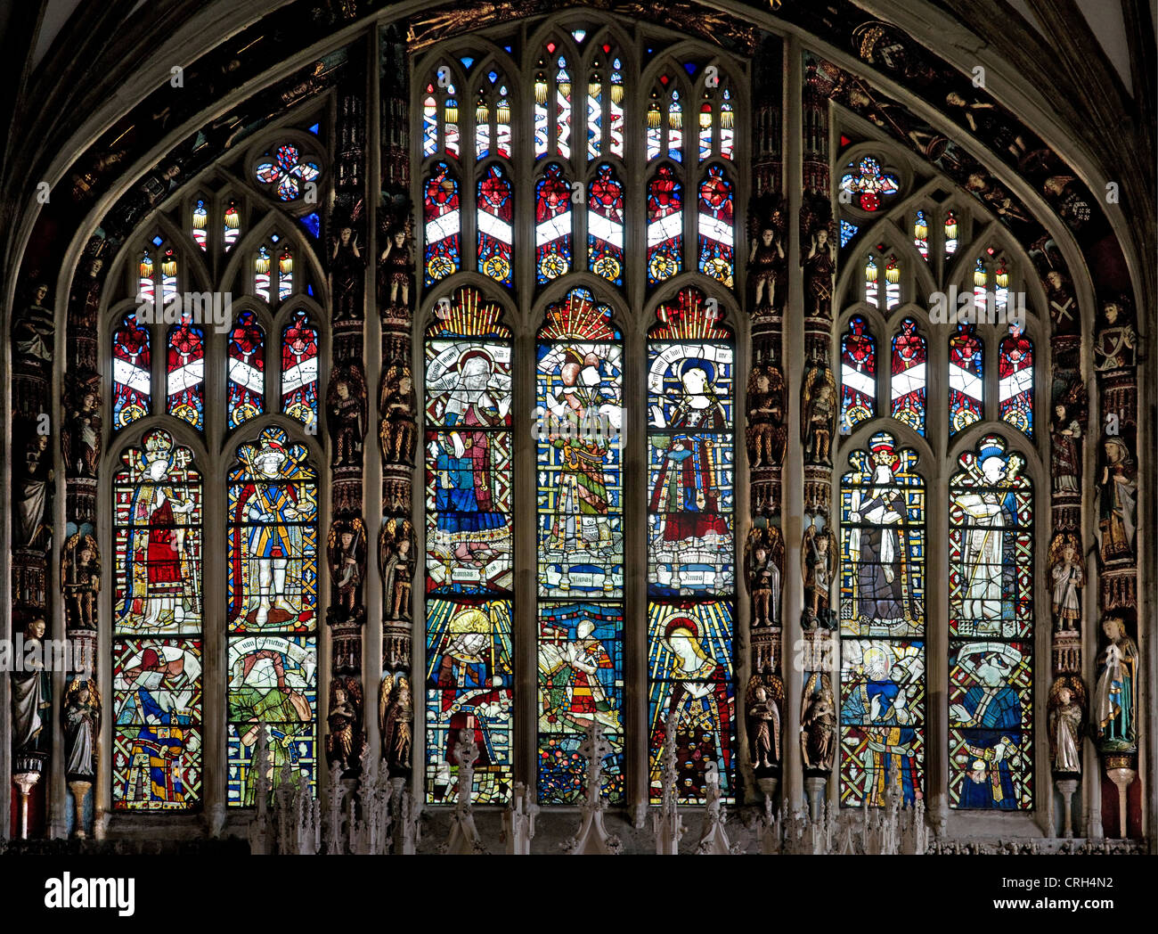Great East Stained Glass Window Of St Marys Collegiate Church Warwick England With Fine Medieval Jewelled