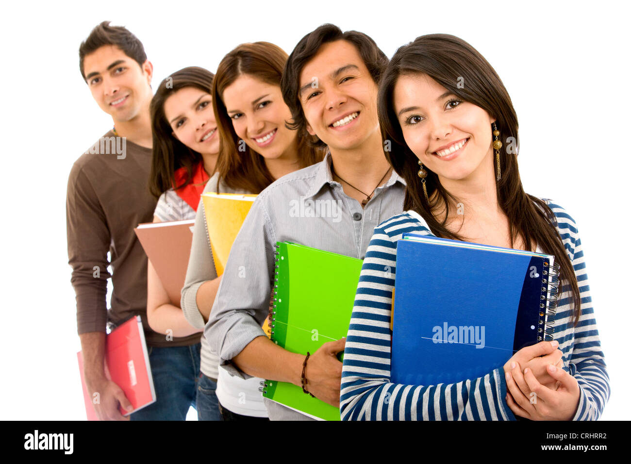 happy university students with notepads Stock Photo ...
