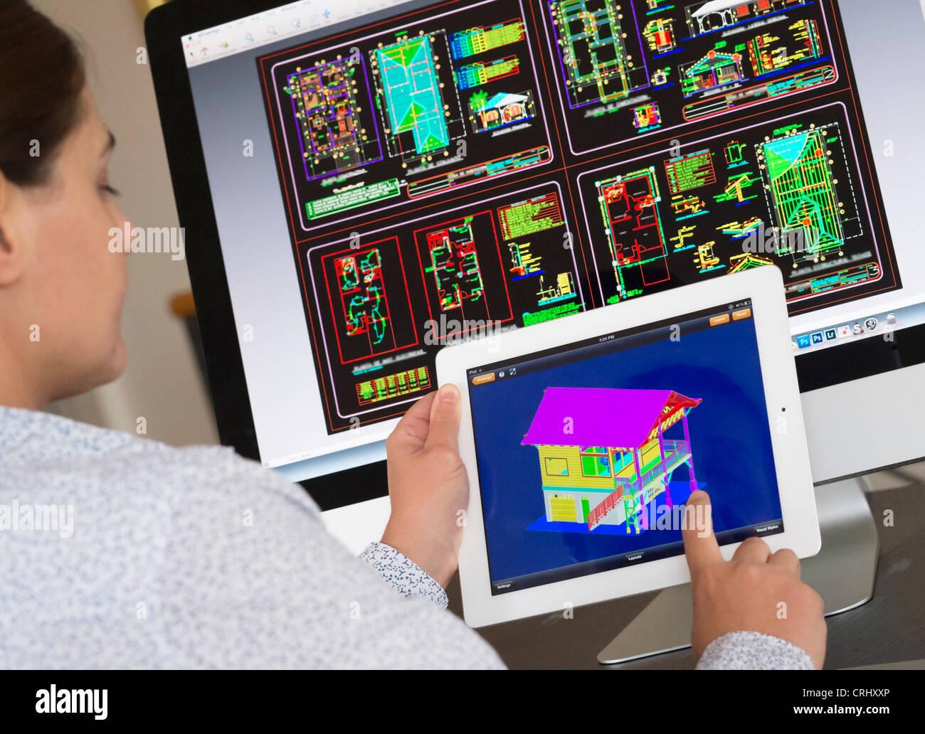 Architect Using Ipad Cad Computer
