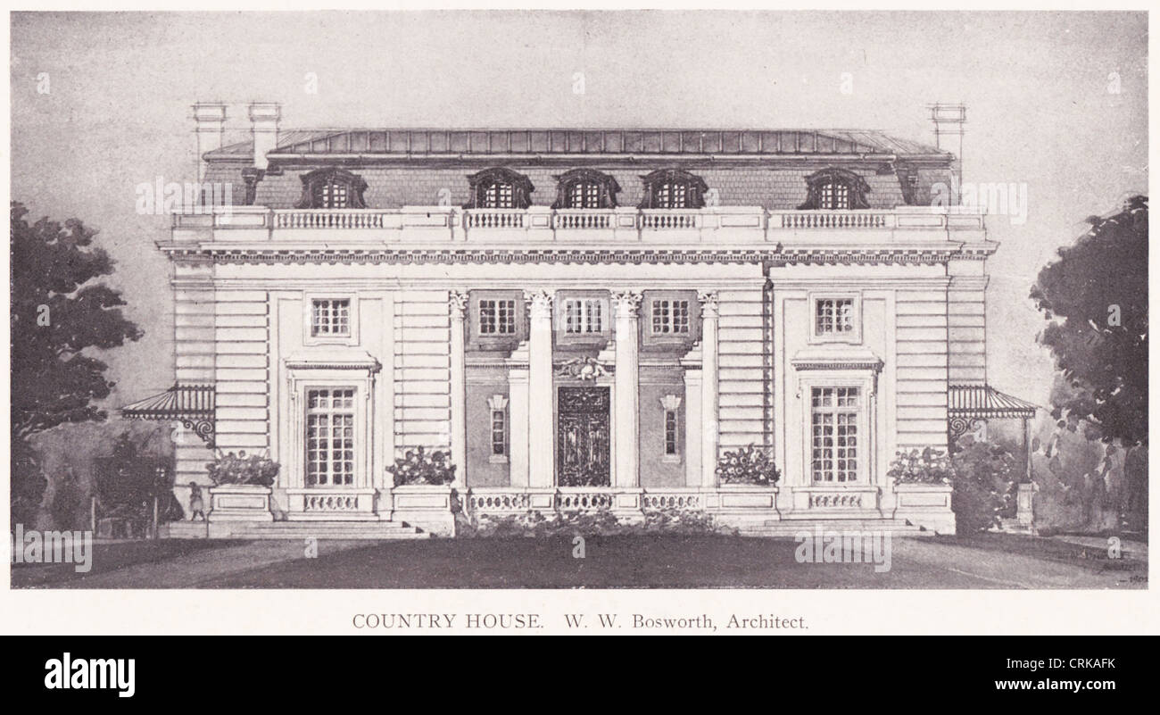 Architectural Drawing For Beaux Arts French Country House