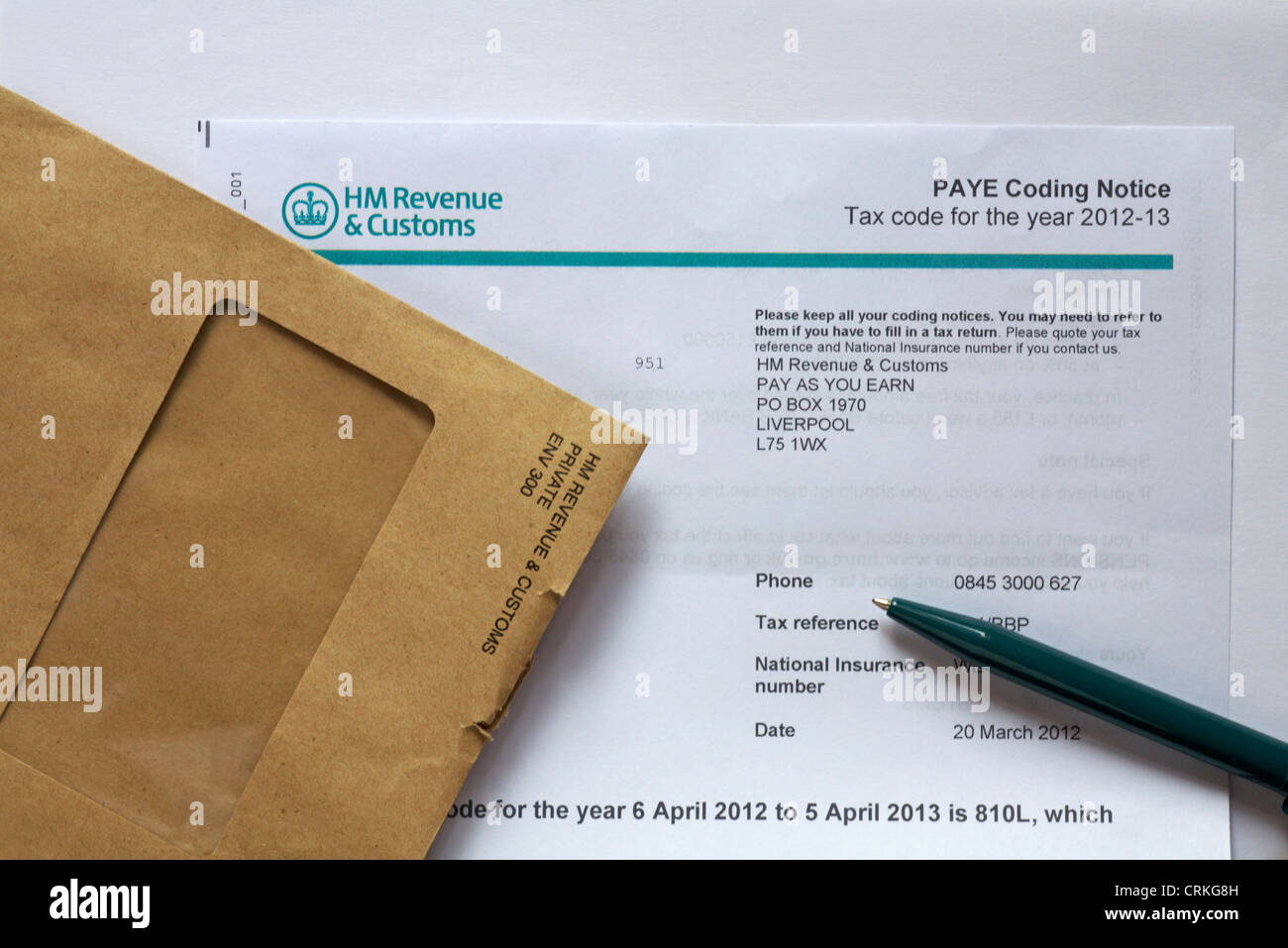 Tax uk envelope stock photos tax uk envelope stock images alamy hm revenue customs paye coding notice tax code for the year 2012 13 set sciox Image collections