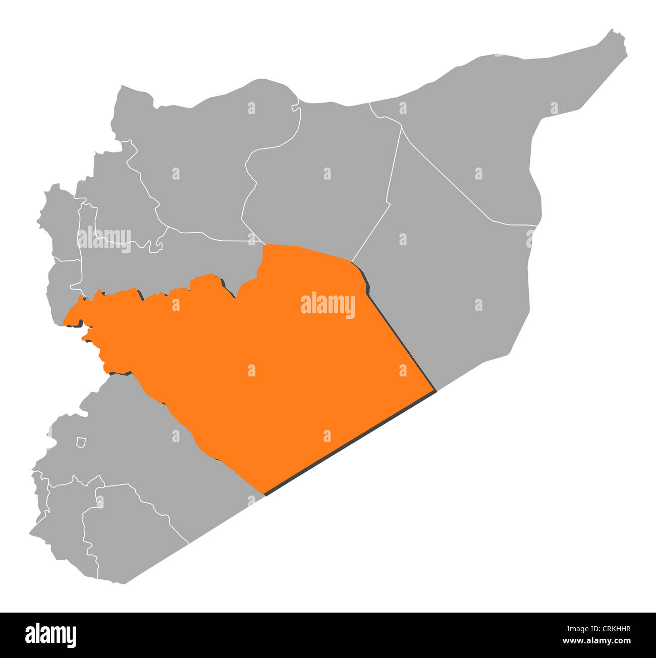 Political map of Syria with the several governorates where Homs is