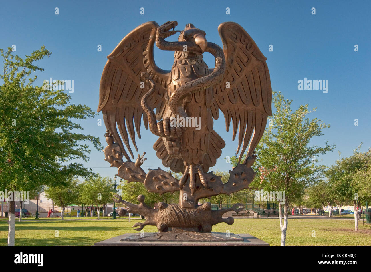 mexican golden eagle national coat of arms and seal sculpture on