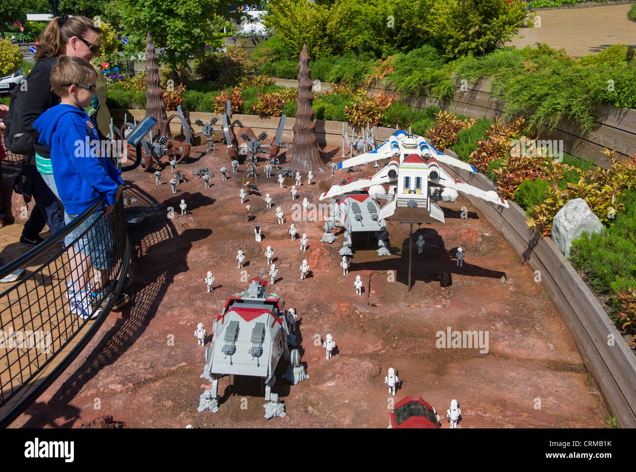 Tourists Looking At The Lego Star Wars Diorama Miniland Legoland Stock Photo Royalty Free
