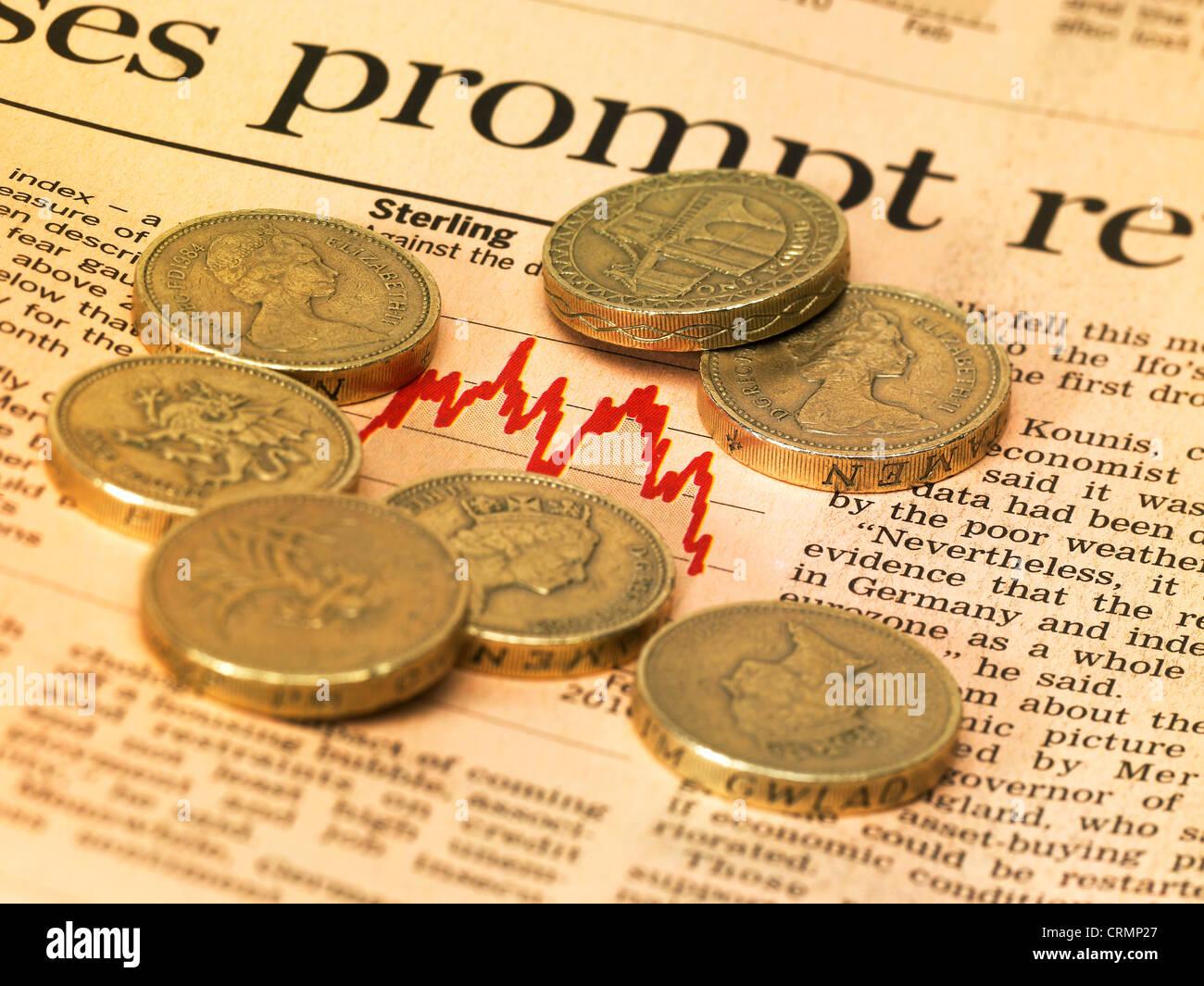 Financial Market Page Newspaper British Pound Coins
