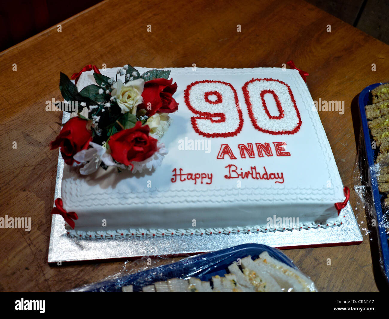 Cake Decorating Ideas For A 90 Year Old : Birthday cake for a 90 year old suitably decorated Stock ...