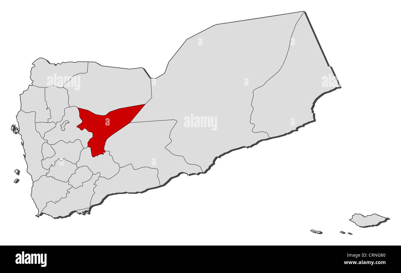 Political map of Yemen with the several governorates where Marib is