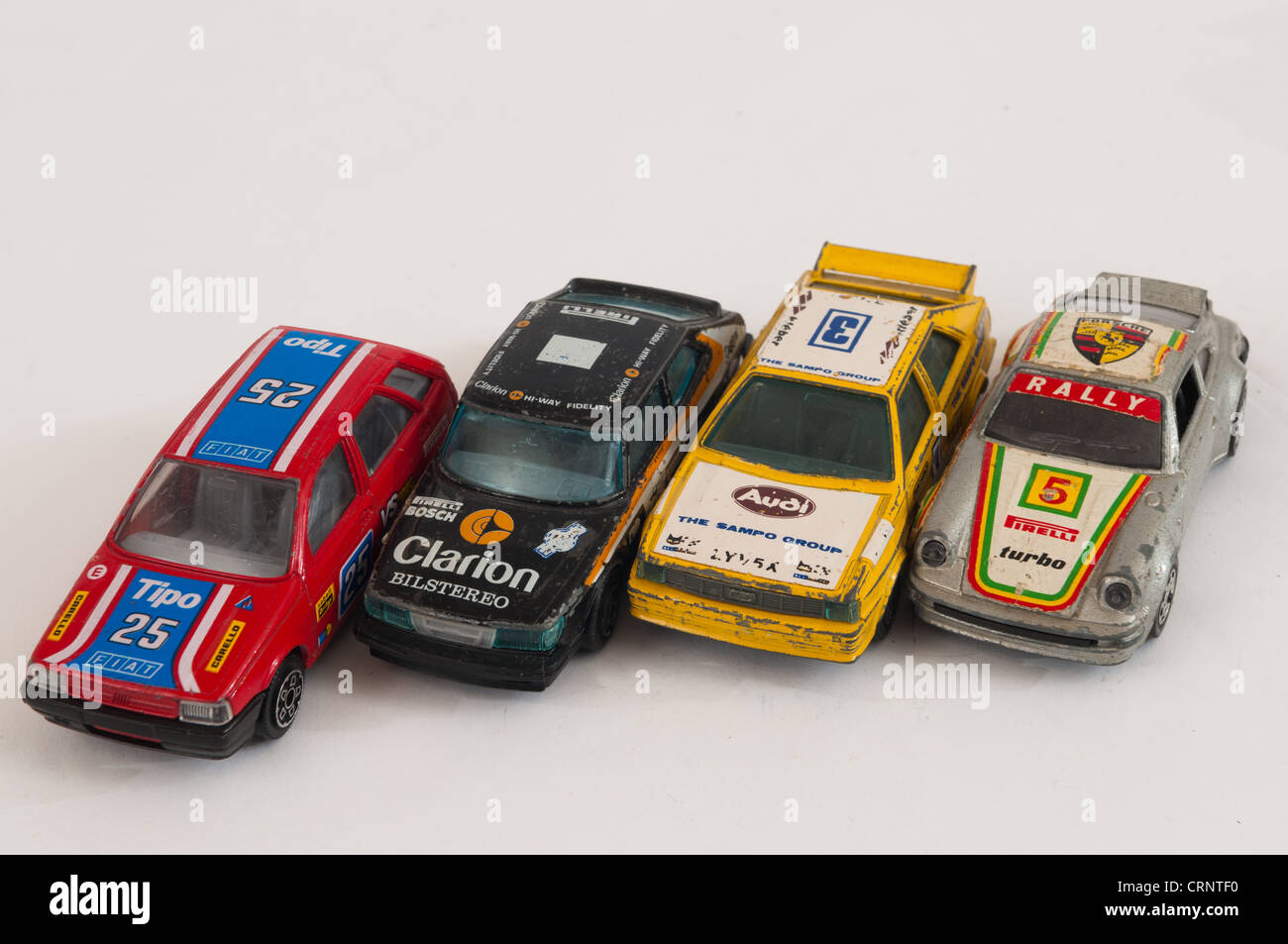 Collection of toy rally cars stock image