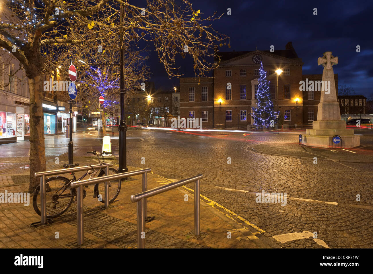 A large Christmas tree decorated with lights in front of the Market House in Taunton town centre & A large Christmas tree decorated with lights in front of the ... azcodes.com