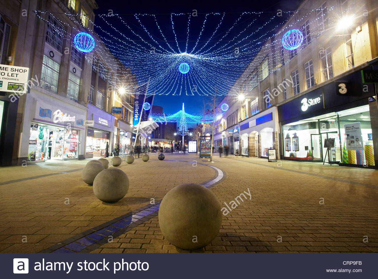 Christmas lights above Broadmead in the Bristol City Centre ...