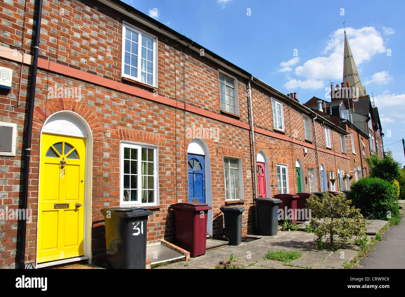 Terraced houses with colourful doors Watlington Street Reading Berkshire England United Kingdom : street doors images - pezcame.com