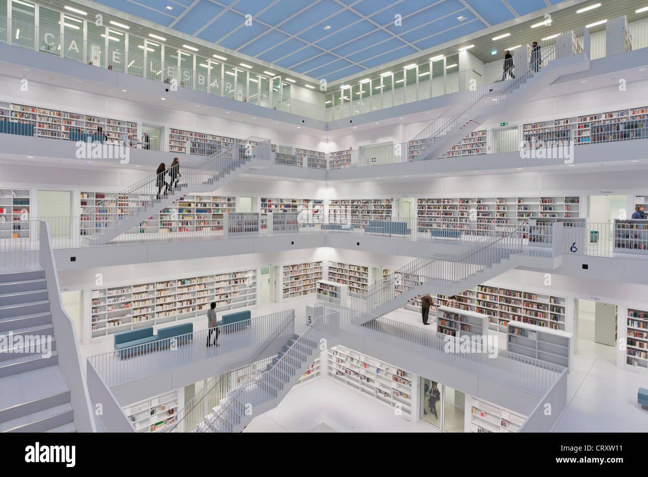 germany baden wuerttemberg stuttgart stadtbibliothek am mailander stockfoto lizenzfreies. Black Bedroom Furniture Sets. Home Design Ideas