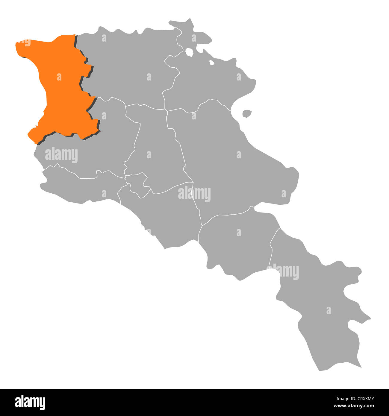 Political map of Armenia with the several states where Shirak is