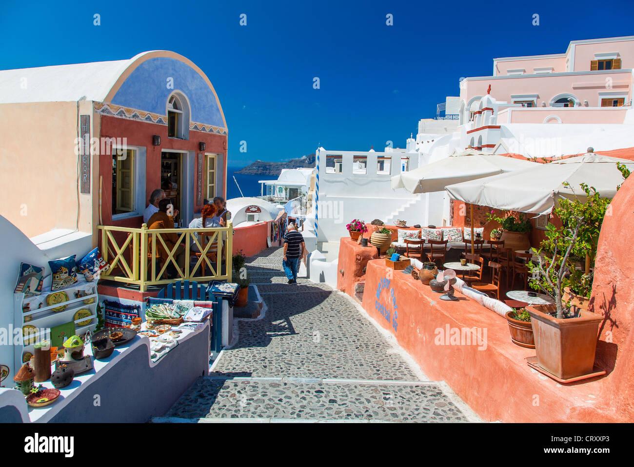 Greece Santorini Street Scene In Oia Stock Photo