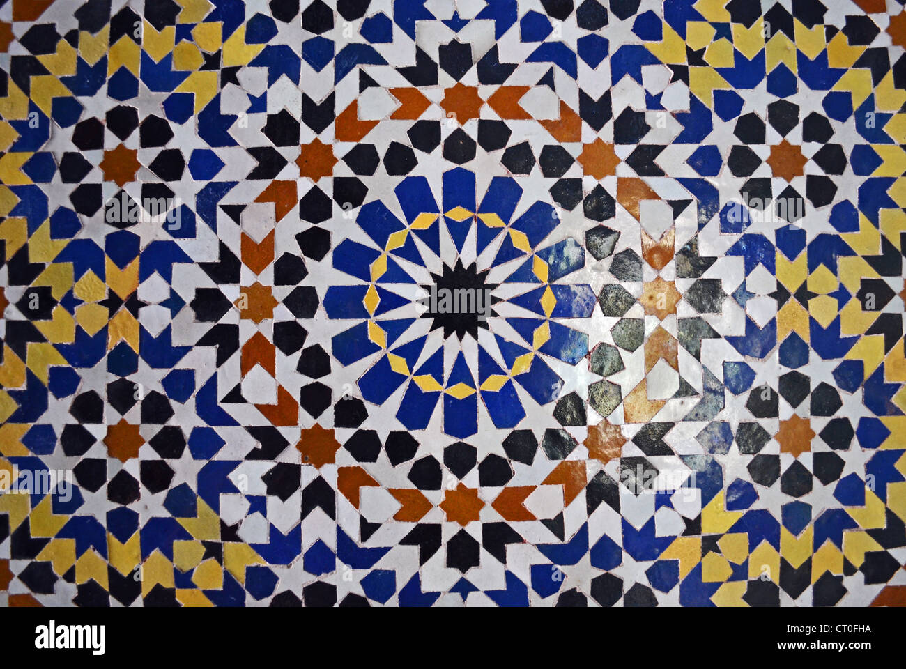 moroccan design with tiles in fes stock photo, royalty free image