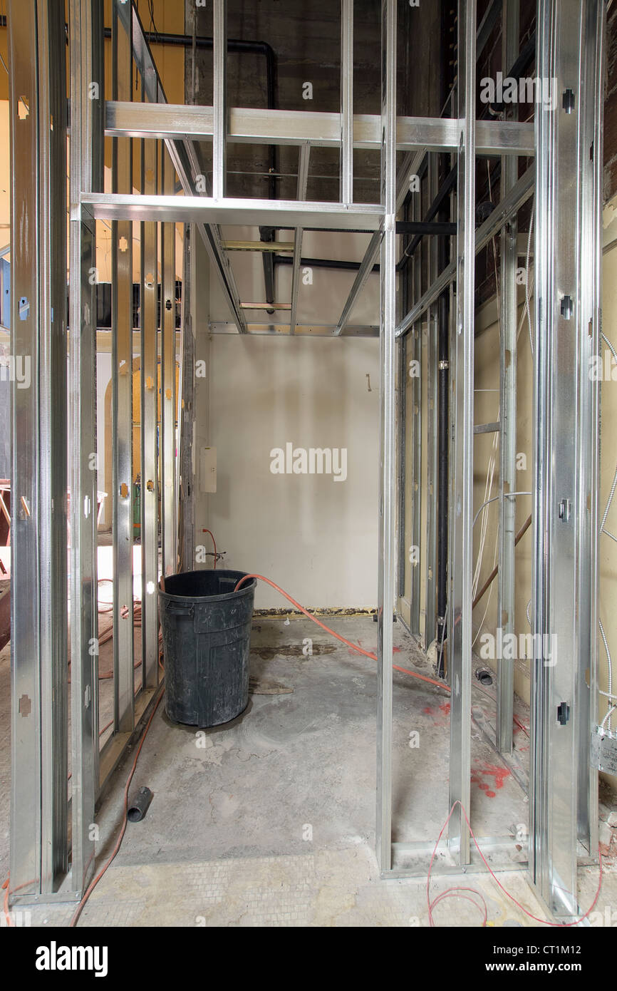 metal stud framing in commercial retail space construction site - Metal Studs Framing