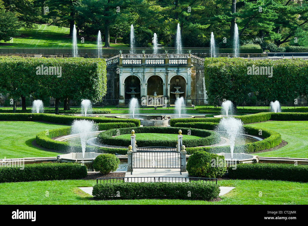 Main Fountain Garden Longwood Gardens Pennsylvania Usa Stock