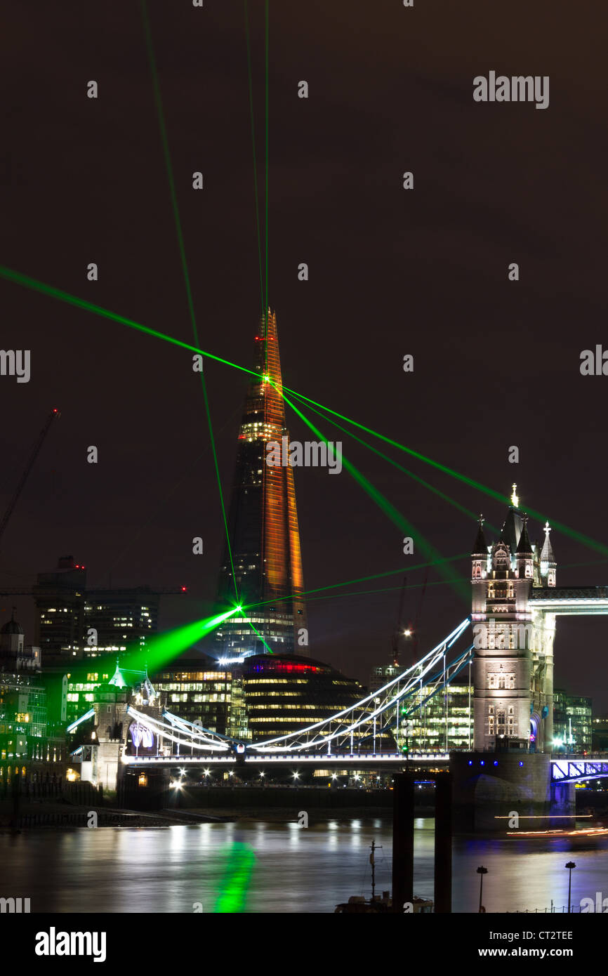London Tower Bridge during inauguration of Shard with laser show, prepared  for 2012 Olympic games