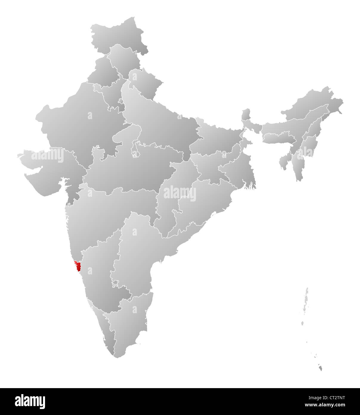 political map of india with the several states where goa is stock