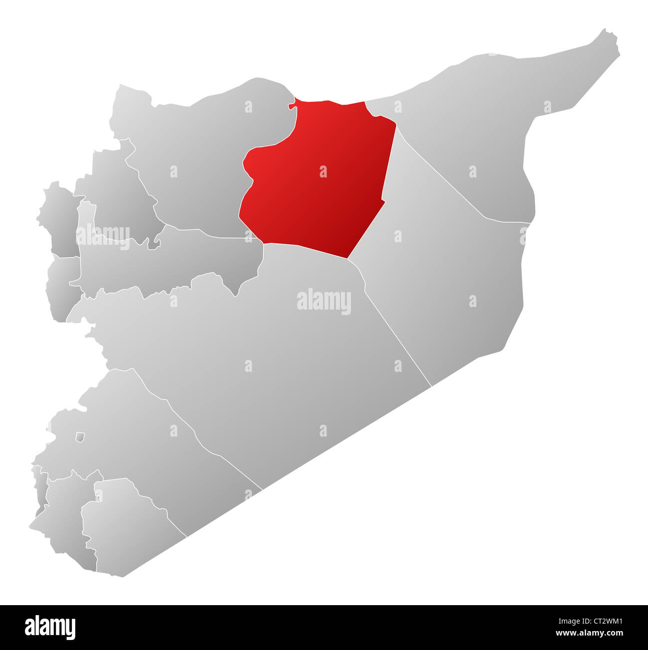 Political map of Syria with the several governorates where ArRaqqah