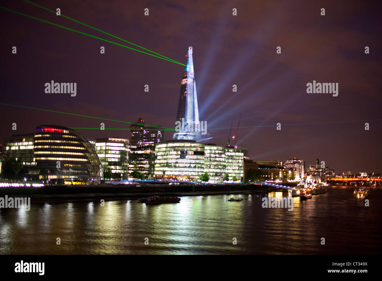 Opening ceremony and light laser show at The Shard building in London