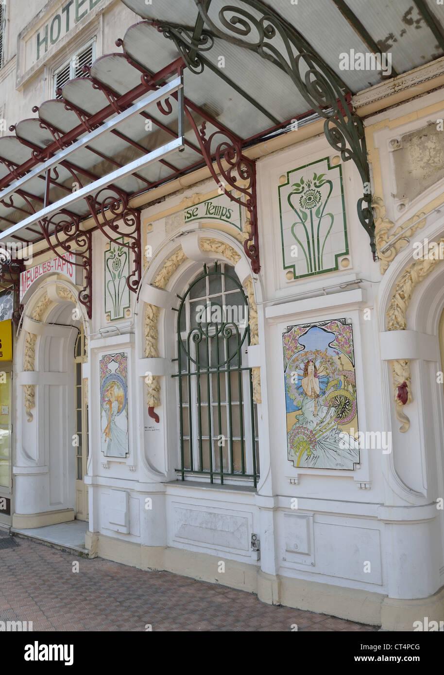 Menton France Lodging - Art nouveau ceramics on facade of former hotel mondial rue partouneaux menton c te