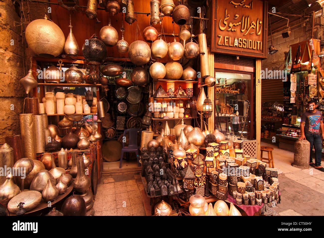 Lamp Shop In Khan El Khalili Bazaar In Cairo Stock Photo