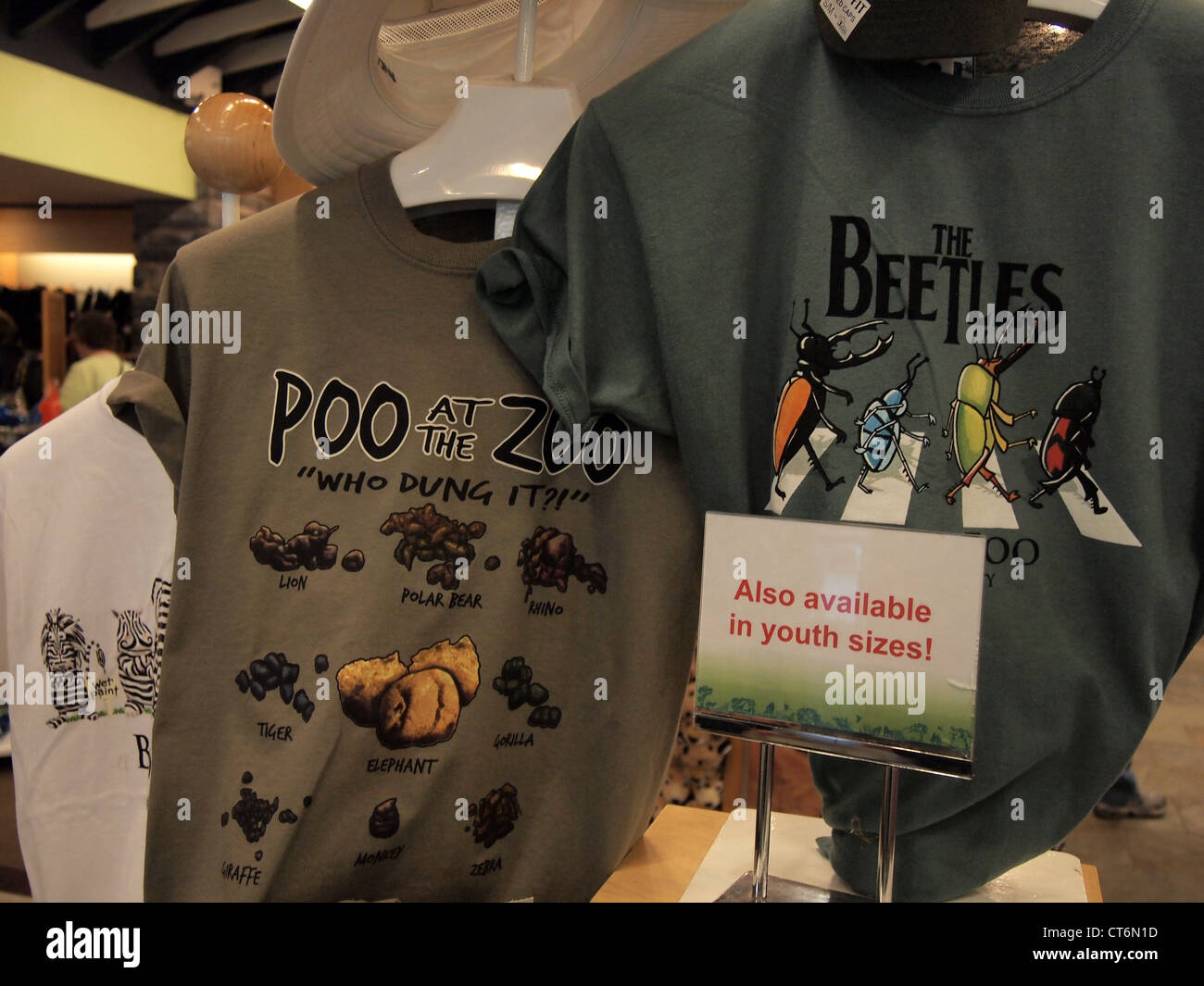 Funny T-Shirts on display at the Bronx Zoo gift shop, Bronx, New ...
