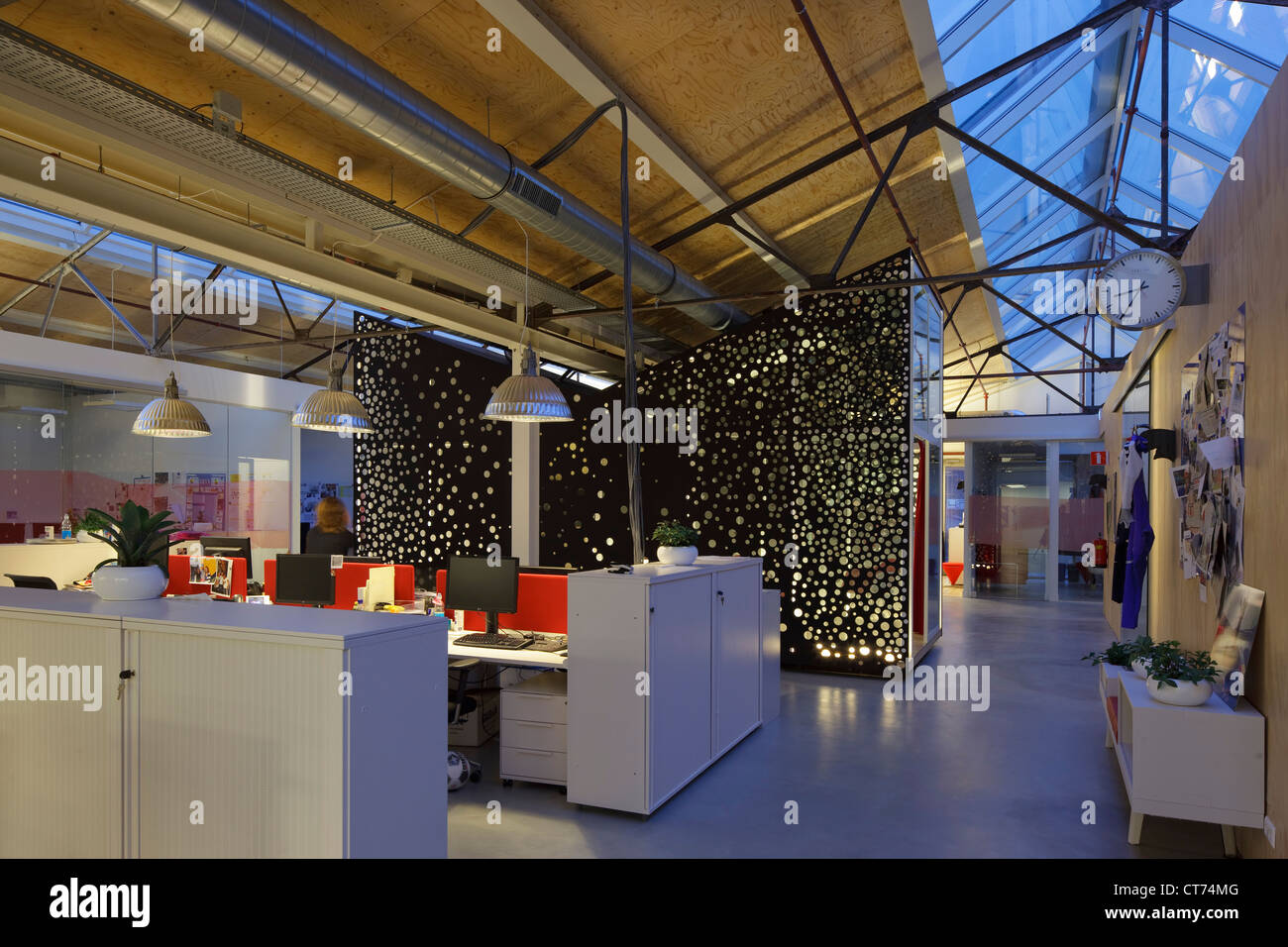 redbull head office interior. Red Bull Nederland Headquarters, Amsterdam, Netherlands. Architect: Sid Lee Architecture, 2011. Office Area In Early Morning, Wi Redbull Head Interior