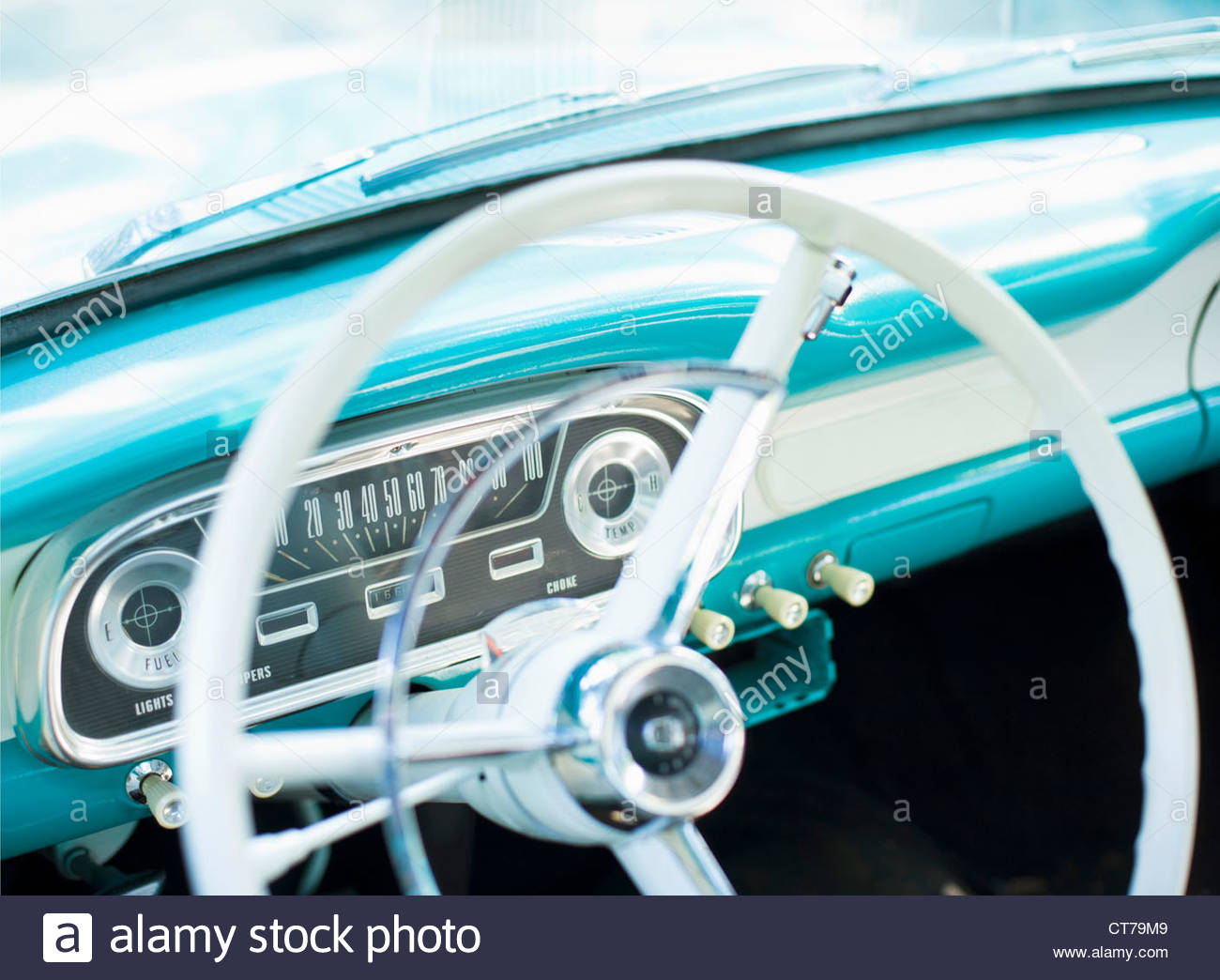 Steering Wheel Of Classic American Car Stock Photo Royalty Free