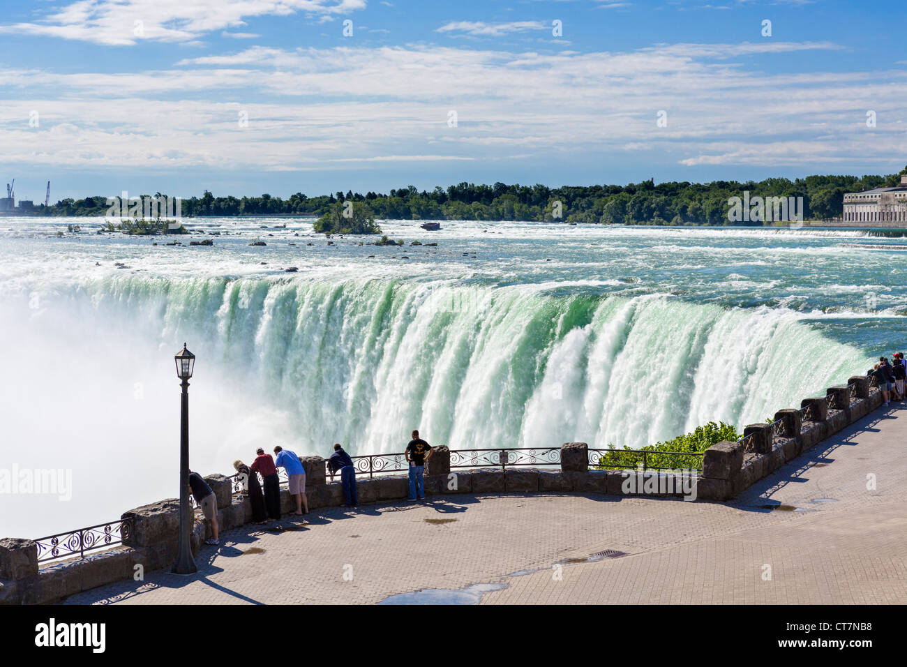 Stock photo tourists viewing the horseshoe falls from the canadian side niagara falls ontario canada