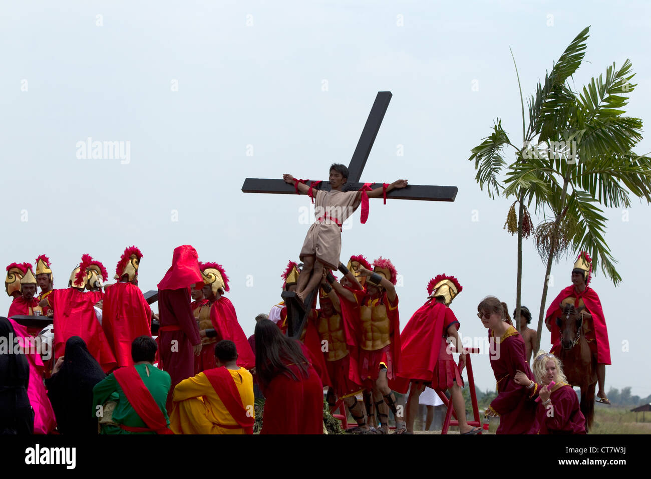 re enactment of the crucifixion of jesus christ good friday holy
