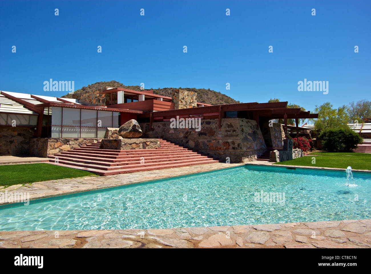 Stock photo wooden architectural design highlight features frank lloyd wright taliesin west winter home scottsdale az