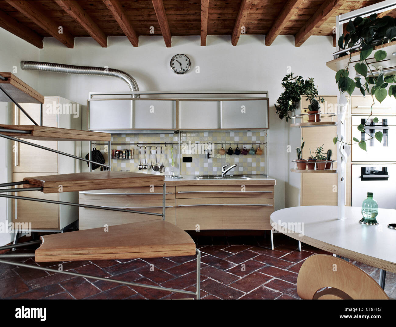 Kitchens With Terracotta Floors Modern Kitchen With Wood Ceiling And Terracotta Floor Stock Photo