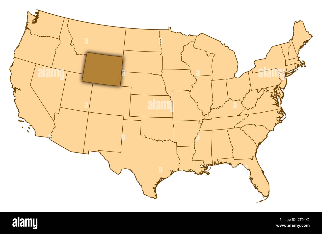 Map Of United States Where Wyoming Is Highlighted Stock Photo - Us map wyoming