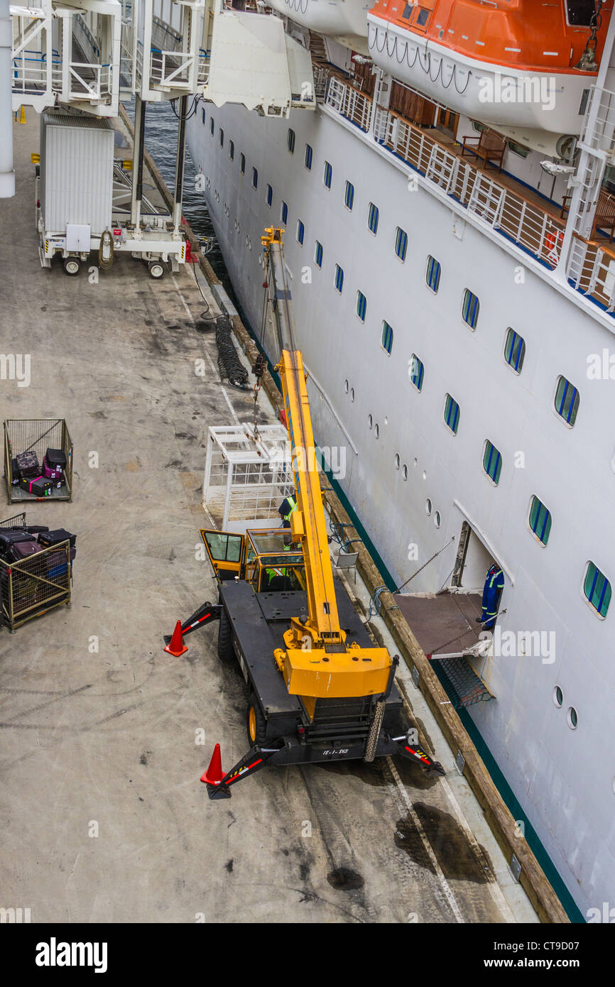 Dock Workers Loading Supplies And Luggage Onto Golden Princess - Cruise ship supplies