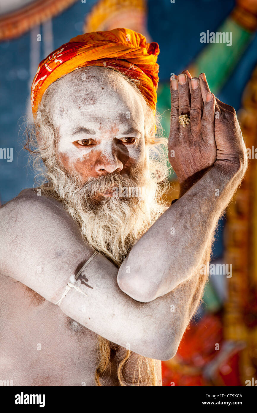 Naga Sadhu Show The Yoga In Varanasi Uttar Pradesh India