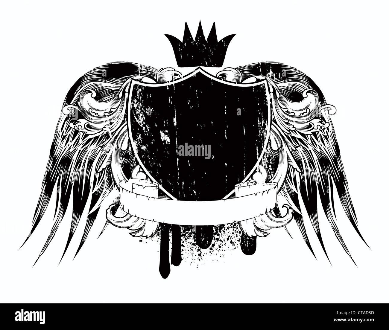 Free t-shirt design - Stock Photo Vector Grunge T Shirt Design With Shield